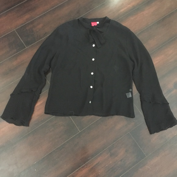 Johnny Was Tops - Vtg Silk Johnny Was black Tie Neck Blouse